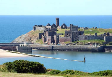 View over Peel Castle and Harbour, Isle of Man
